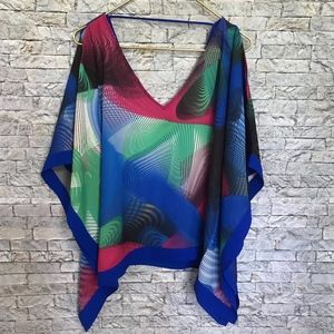 XOXO Multicolored Print Deep V Neck Scarf Blouse L